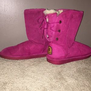 BearPaw berry-colored boots.